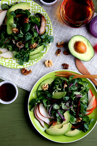 Walnut, avocado & pear salad with marinated portobello caps & red onion, from the Oh She Glows Cookbook
