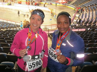 Mei and Arlene with their medals after the race