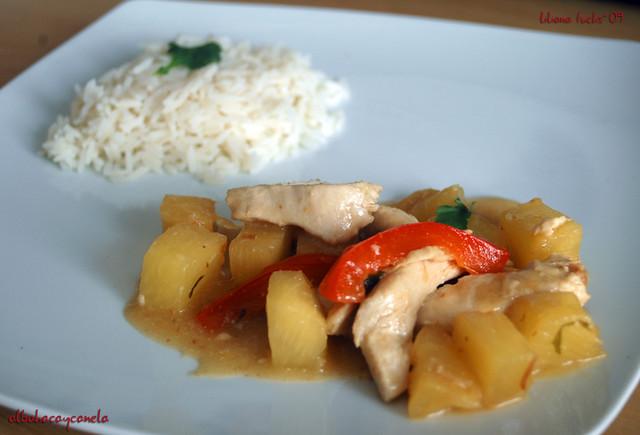 Pollo al limón y piña