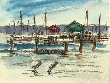 Sketch of Fisherman's Wharf, Monterey, California