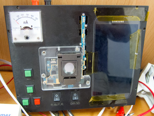 Galaxy Note testing apparatus