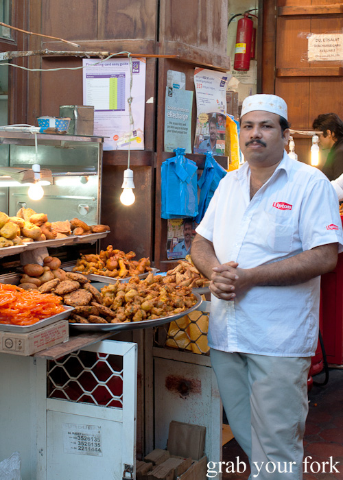 Indian street snacks from Al Shaab Restaurant near the Textile Souk
