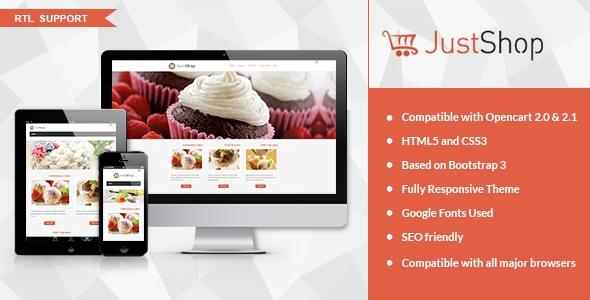JustShop v1.0 - Cake Bakery OpenCart 2.x Theme