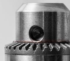 Drill chuck.  Guess when I'm bored I'll photo anything. #monochrome #drill #machinery #macro #d750 #nikon #offcameraflash