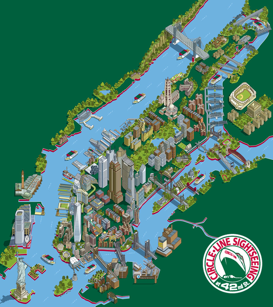 New York Illustration  New York Sights Tourist Attractions - Nyc map art