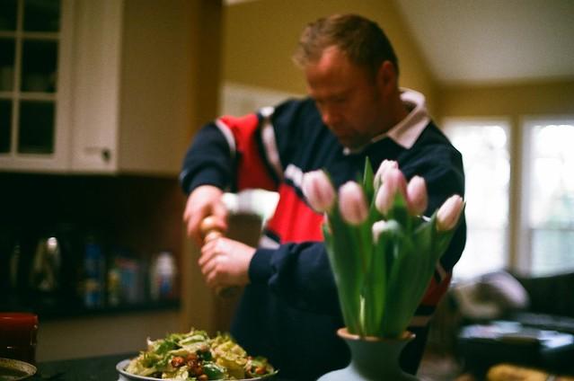 Thomas makes dinner