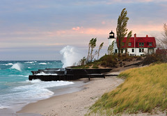 Sunrise at Point Betsie Lighthouse - Crystallia, Michigan by Michigan Nut
