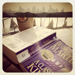 Hazy Morning, Cloudy Skyline, Book & Iced Coffee