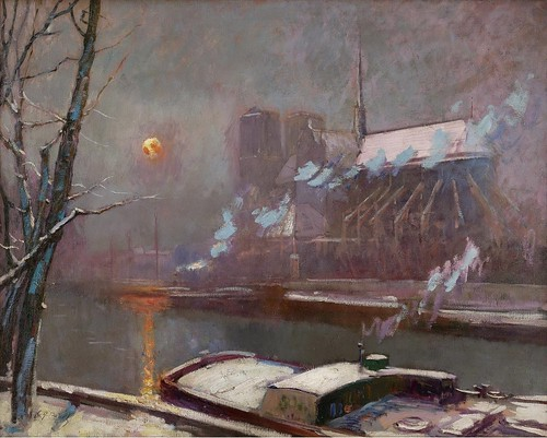 Elie Anatole Pavil - Quay of Tournelle at Sunset in Winter by Gandalf's Gallery