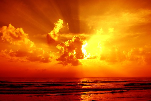 無料写真素材, 自然風景, 海, 空, 雲, 朝焼け・夕焼け, 橙色・オレンジ