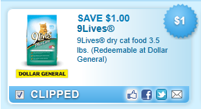 9lives Dry Cat Food 3.5 Lbs. (redeemable At Dollar General)  Coupon