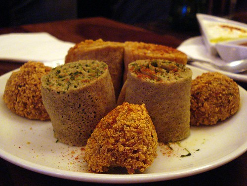 Spinach rolls, timtimo (spicy lentil) rolls, and felafel at Mosob, Maida Vale, London W9