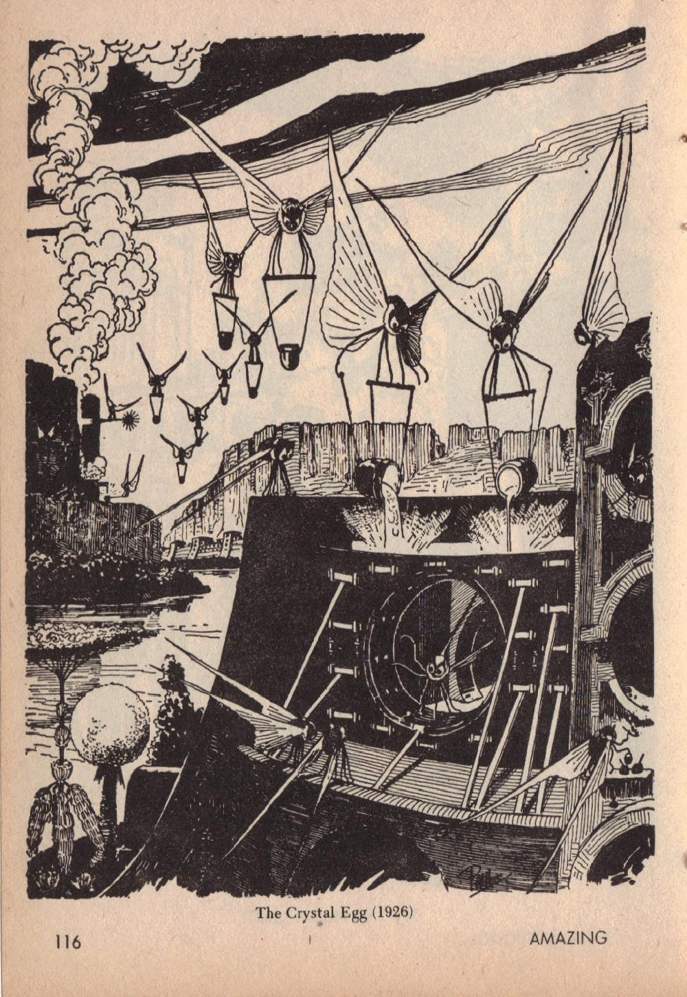 Frank R Paul - H.G. Wells Illustrations (Published in Amazing Stories,April 1966, page 116