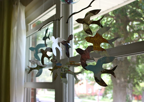 Feather your Nest entry, Recycled paper bird mobile