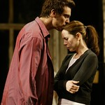 After a turbulent night of passion and betrayal, Anne Torsiglieri as Anna and Michael T. Weiss as Pale prepare never to see each other again in Huntington Theatre Company's production of Lanford Wilson's Burn This at the BU Theatre/Avenue of the Arts. Part of the 2004-2005 season. Photo: T. Charles Erickson