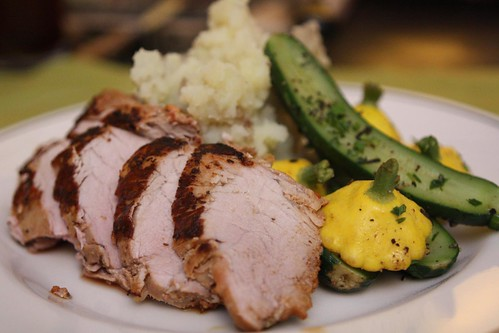 Roast Pork Tenderloin, Spring Squash, and Mashed Potato