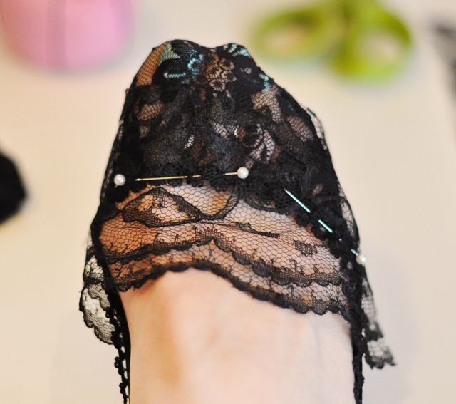 DIY black lace socks socklets-2