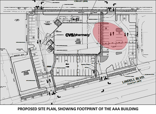 Proposed Site Plan with AAA Building Footprint