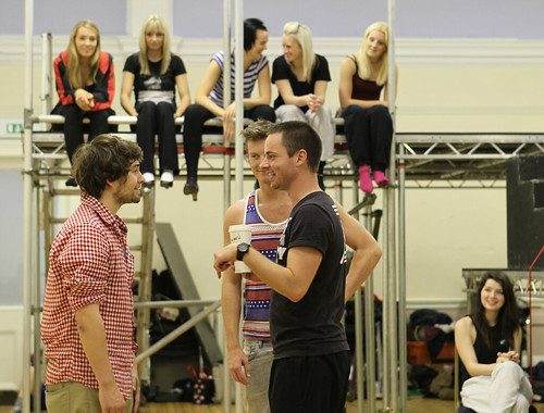 Director Andrew Gowland with the cast of the MGA production of The Producers, Church Hill Theatre Edinburgh, July 2012