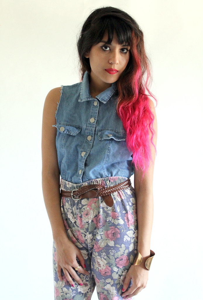 Denim sleeveless button up and high waist lightweight floral denim pants by Tarte Vintage at shoptarte.com