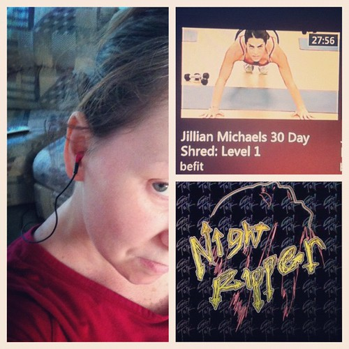 Day 2 of The 30 Day Shred. I have found that if I put on some tunes instead of listening to Jillian that I am more motivated and it goes by so much faster. I usually listen to The Girl Talk station on Pandora. @capturing_magic @yahbag