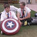 Small photo of Clean Cut Man With Captain America Shield