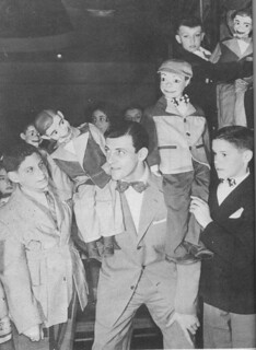 Paul Winchell and his fans with their own Jerry Mahoney Ventriloquist Pals at Bullock's Department Store Downtown Los Angeles 1955