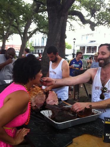 Josh Harris, founding partner of The Bon Vivants, feeds me pig at Pig & Punch 2012