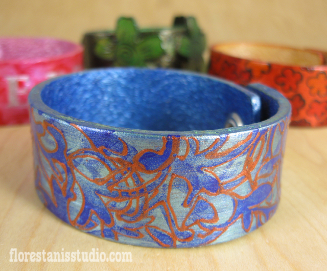 Painted Leather Cuffs - A project I did recently for Jacquard