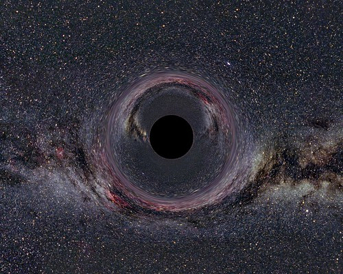 Black Hole in front of the Milky Way (Artist Impression)