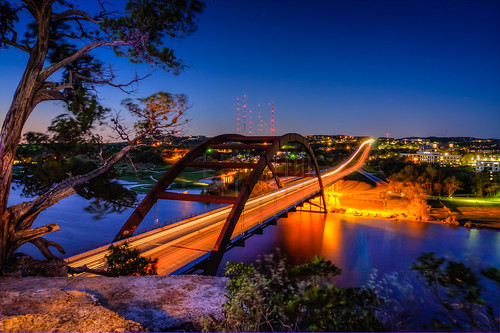 bridge reflection water sunrise austin landscape dawn tx