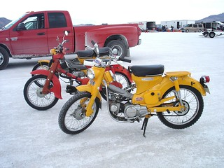 My Honda C100 and 2 Honda Trail 90's, Bonneville Speedweek 2012