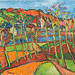 Elmyr de Hory, 'Fauve Landscape,' in the style of Maurice de Vlaminck, ca. 1968, oil on canvas. Collection of Mark Forgy, Photo by Robert Fogt