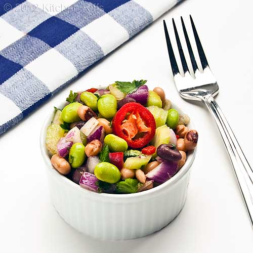 Edamame and Bean Salad in White Ramekin, White Background