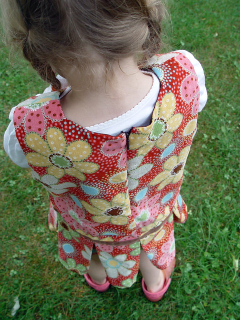 floral cord jumper, back