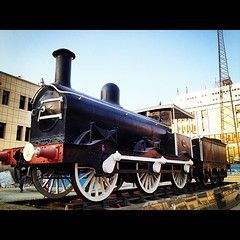 An old steam locomotive; one of the oldest steam locomotive in the world which can be found in Cairo. The Egyptian Railways is the second oldest railways in the world after England.