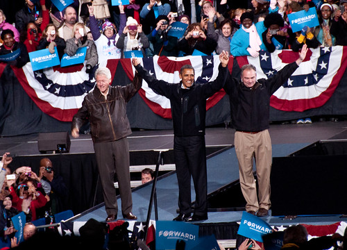 President Obama, President Clinton and Gov. Tim Kaine