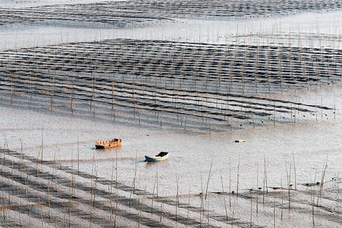 china sunset sea water sunrise boat fishing pattern fujian xiapu