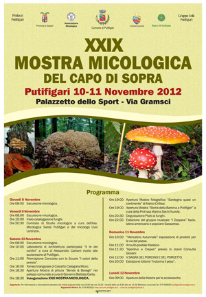 XXIX Mostra micologica di Putifigari, manifesto