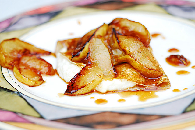 Crepes with ricotta cheese filling and pears