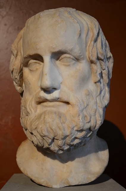 Portrait of the Athenian tragedian Euripides (480-406 BC), Roman copy of a 4th century BC Greek original, from Cumae (Italy), Neues Museum, Berlin