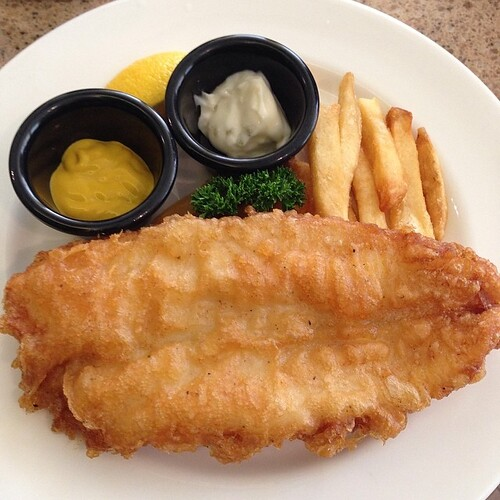 Yummy Fish & Chips for lunch at Seasonal Salad Bar.