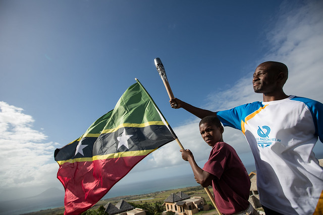 The Queen's Baton on Kittitian Hill, in St. Kitts, Friday 28 March 2014. St. Kitts and Nevis is nation 51 of 70 Commonwealth nations and territories to be visited by the Queen's Baton.