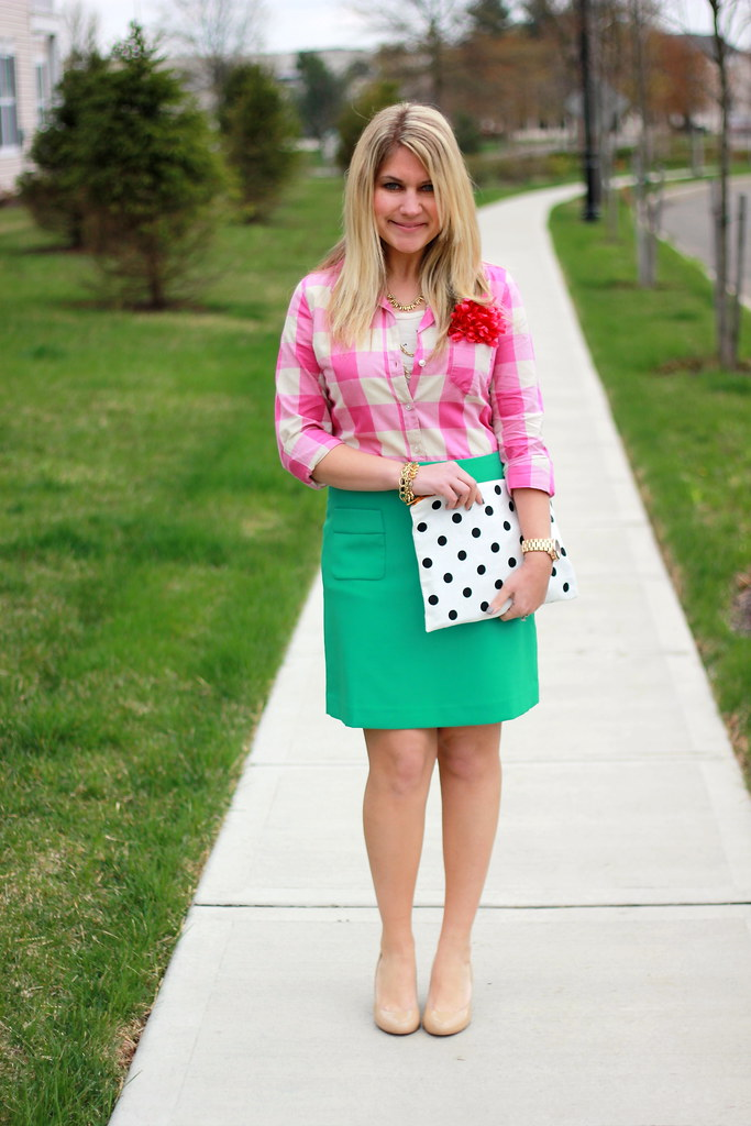 pink and green work outfit