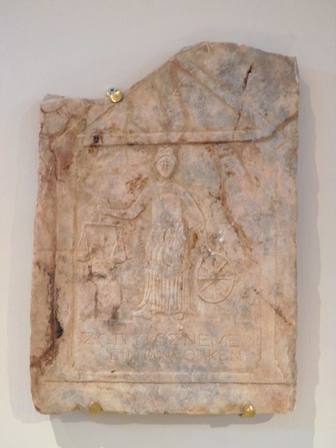 Marble votive relief representing the goddess Nemesis, Archaeological Museum, Dion