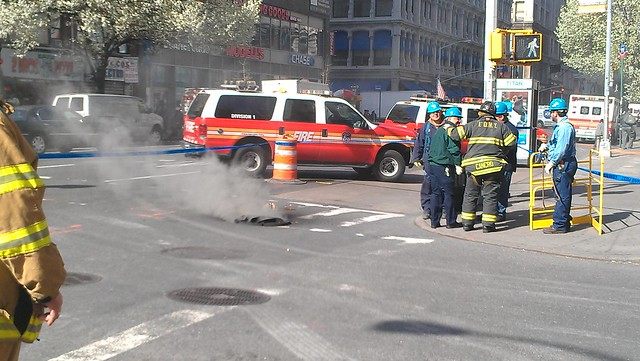 That previously-smoking manhole popped open!