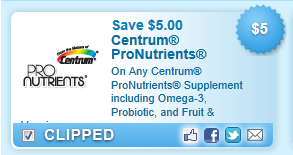 Centrum Pronutrients Supplement Including Omega-3, Probiotic, And Fruit & Veggie  Coupon