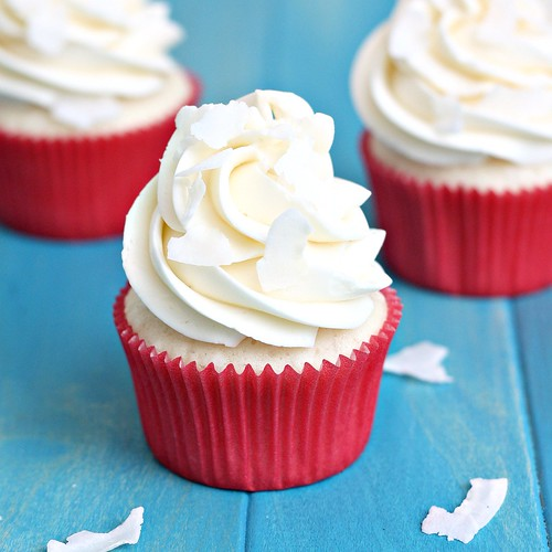 White Coconut Cupcakes with Coconut Swiss Meringue Buttercream