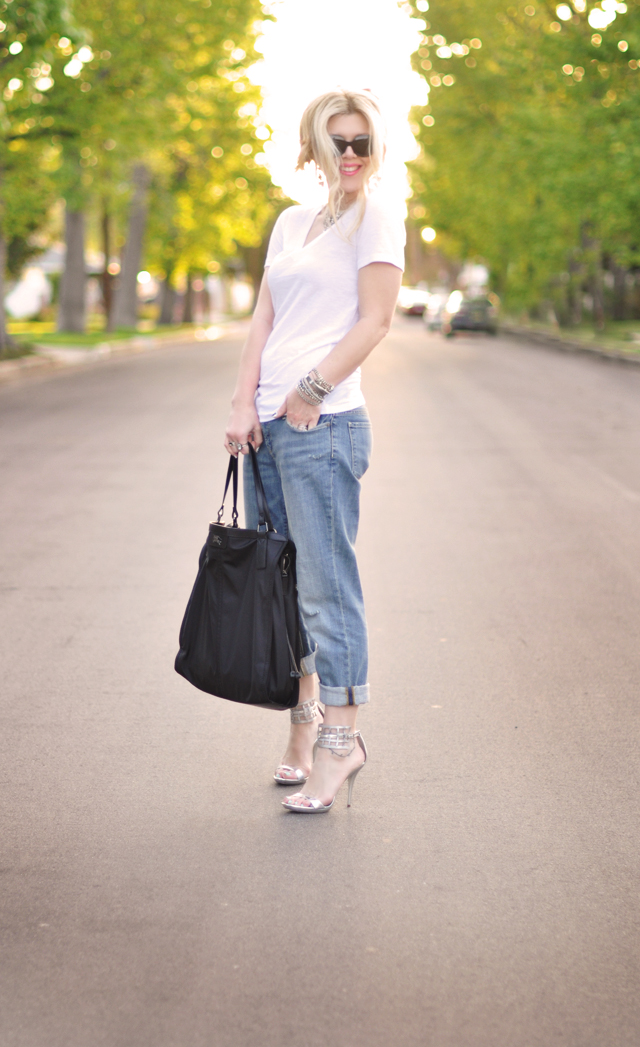 cuffed jeans and silver accessories - black burberry shopper tote
