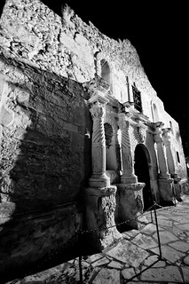 Alamo at night (B&W)